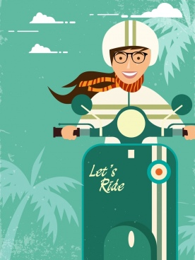 scooter advertisement riding girl icon retro decoration