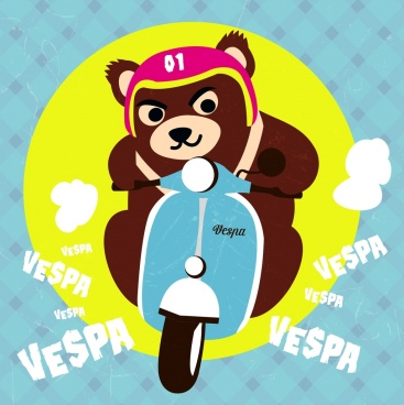 scooter advertising stylized bear icon multicolored flat decor
