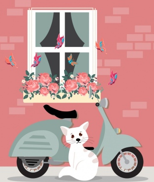 scooter drawing cat butterflies roses icons decor