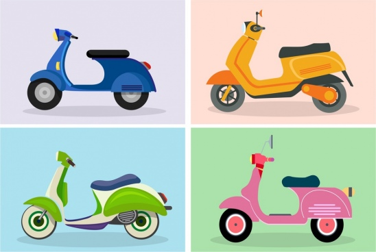 scooter icon templates colored classical design