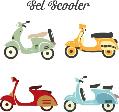 scooter icons collection classical colored sketch