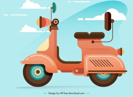 scooter motorbike icon classical colored sketch