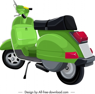scooter motorbike icon green classical 3d design