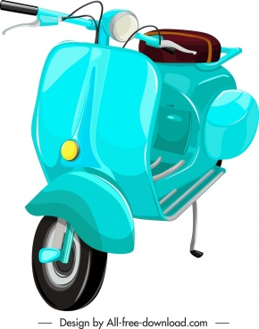 scooter motorbike template blue classical decor 3d sketch