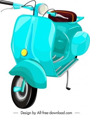 scooter motorbike template blue classical decor 3d sketch
