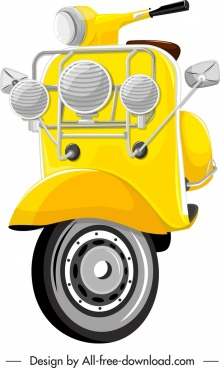 scooter motorbike template shiny yellow sketch lights decor