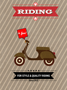 scooter poster design with vintage style