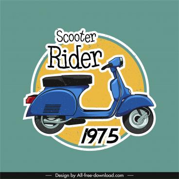 scooter vehicle banner retro vespa sketch