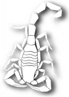 scorpion icon shining bright white silhouette sketch