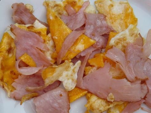 scrambled eggs ham an