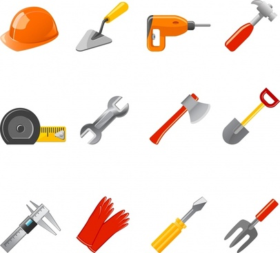 building work tools icons shiny modern objects sketch