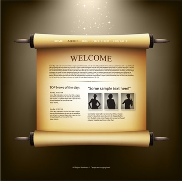 webpage template 3d retro scroll paper design