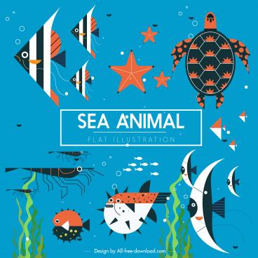 sea animals background colorful classic flat sketch