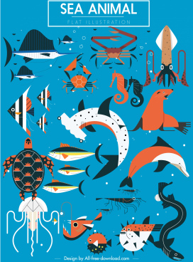 sea animals icons colored classic flat sketch