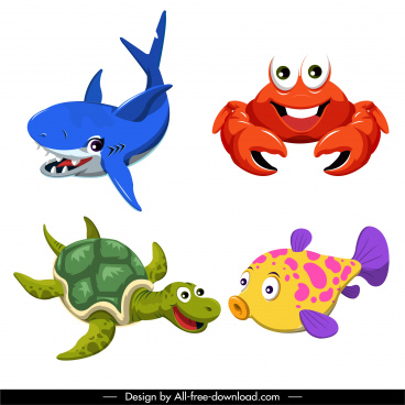 sea animals icons cute cartoon sketch colorful design