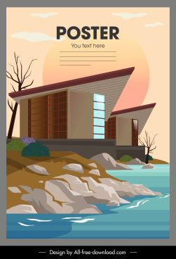 sea architecture poster colorful modern sketch