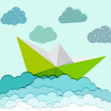 sea background cloud ship icons paper cut decor