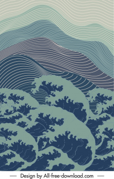 sea background template retro waves curves handdrawn motion