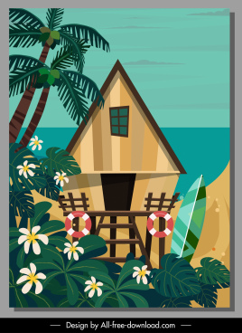 sea bungalow house painting colorful classic design