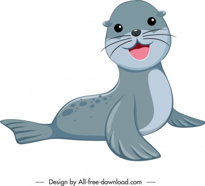 sea calf icon cute cartoon character sketch