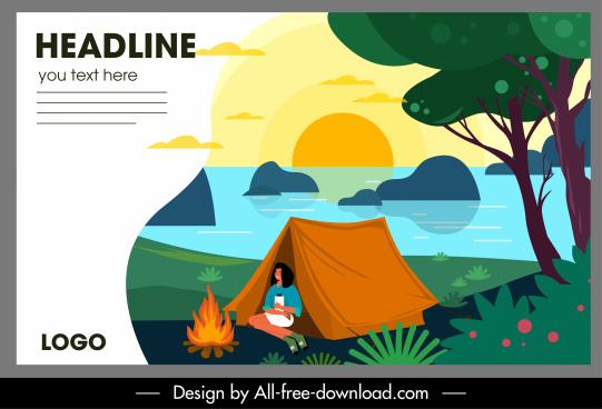 sea camping banner tent campfire sketch