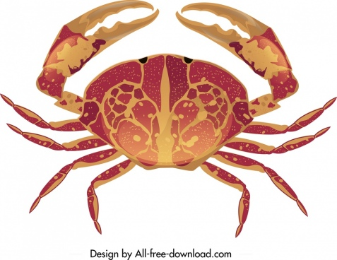 sea crab icon bright red brown design