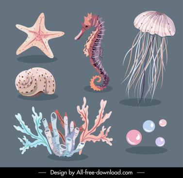 sea creatures icons classical handdrawn design