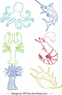 sea creatures icons colored handdrawn outline