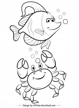 sea creatures icons stylized cartoon sketch handdrawn design