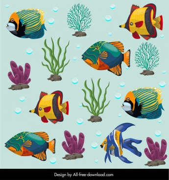 sea creatures pattern colorful fishes corals ornament