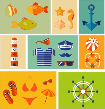 sea design elements illustration with various specific