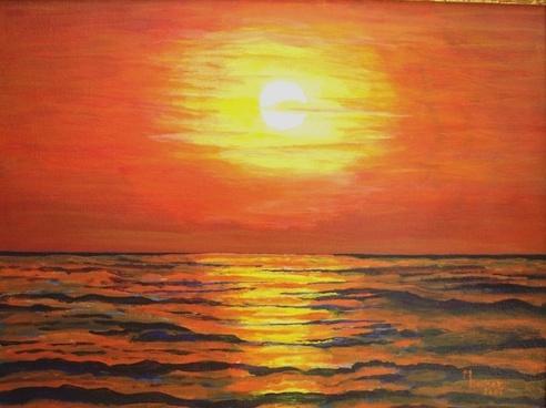 sea evening painting