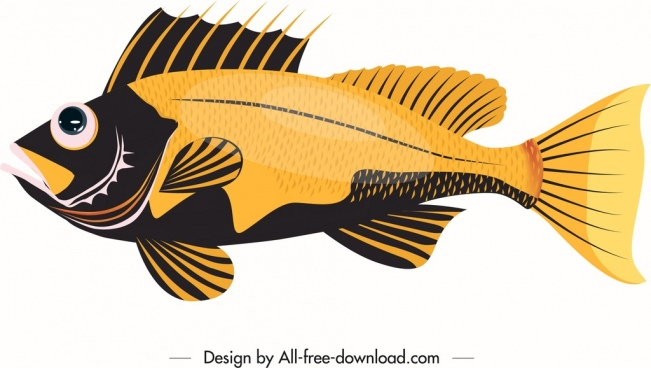 sea fish icon black yellow decor