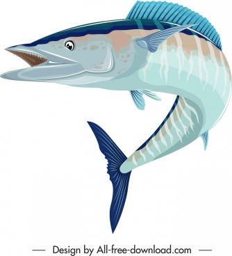 sea fish icon colored 3d motion sketch