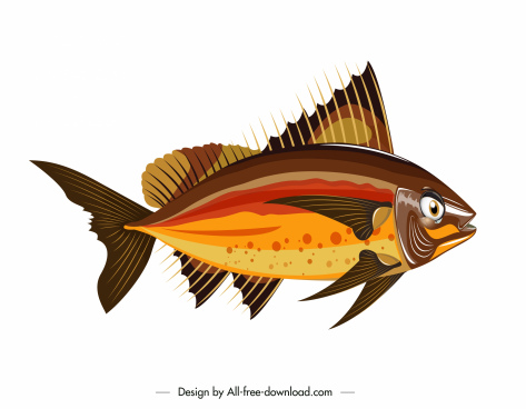 sea fish icon colorful modern flat sketch