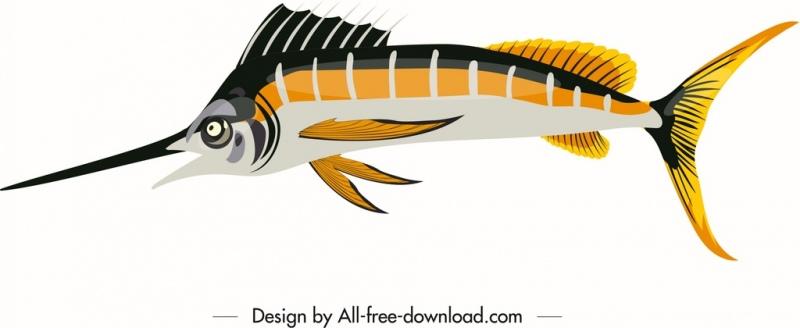 sea fish icon shiny modern colorful sketch