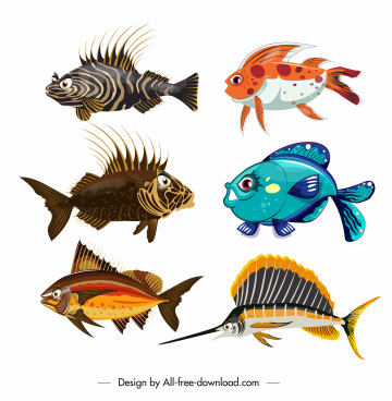 sea fish species icons colorful modern design