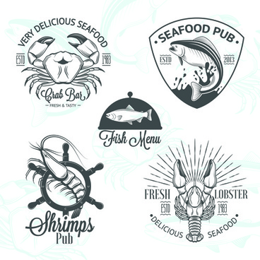 sea food badges with labels vector set