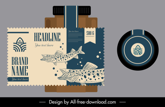 sea food label template classical handdrawn fish decor