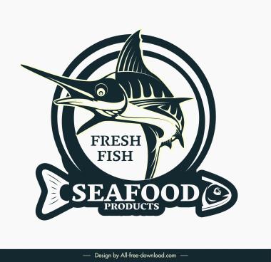 sea food logo template dynamic 3d handdrawn fish