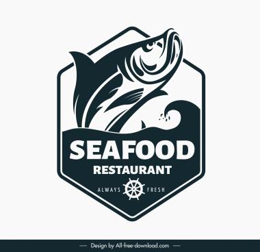 sea food logo template dynamic fish handdrawn sketch