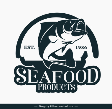 sea food logotype classic design dynamic fish sketch