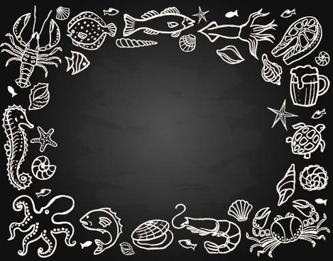 sea food vintage styles vector