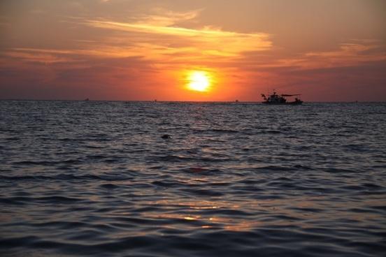 sea glow sunset
