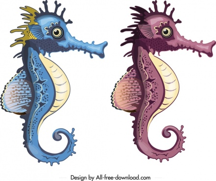sea horse icons blue violet decor