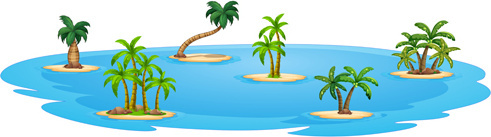 sea islands palm tree vector