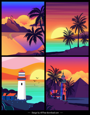 sea landscape backgrounds colorful dark classic design
