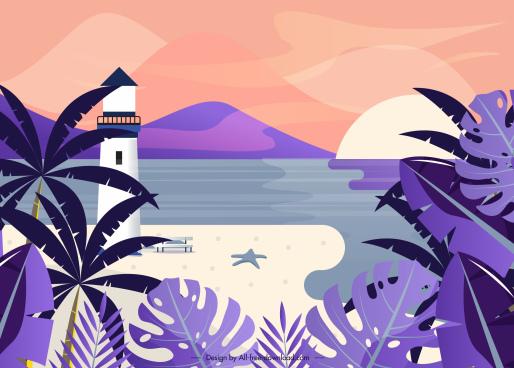 sea landscape painting violet classical decor