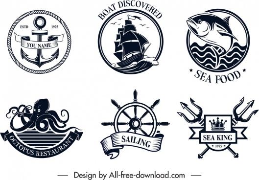 sea logo templates black white classical design