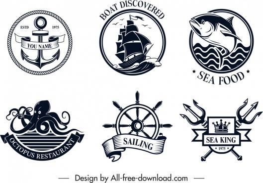 sea logo templates black white classical design
